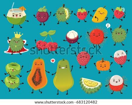 Vintage food poster design with vector coconut, mangosteen, durian, strawberry, mango, cherry, rambutan, cabbage, papaya, lychee, pumpkin character.