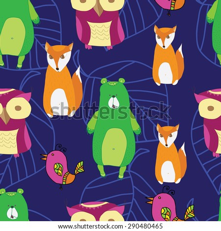 Vintage forest seamless pattern with forest animals, leaves , trees, seamless pattern. vector background