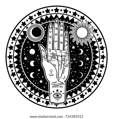 Vintage Fortune Teller Hand with Palmistry diagram. Sketch graphic illustration with mystic and occult hand drawn symbols. Vector illustration. Halloween, astrological and esoteric concept.