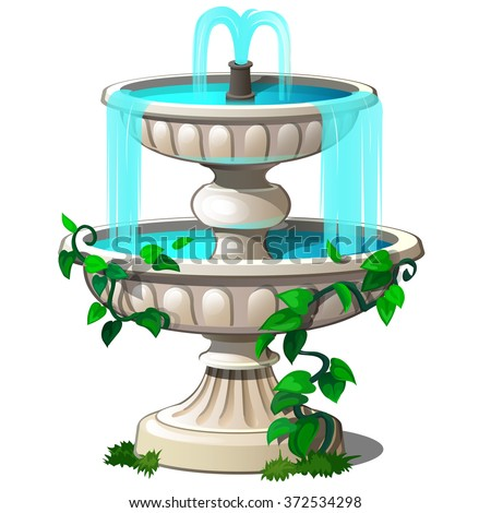Vintage fountain with climbing plants isolated on a white background. Cartoon vector close-up illustration.