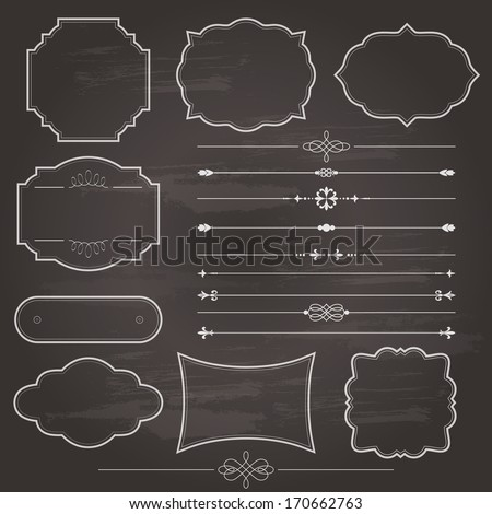 Vintage frame and divider set on chalkboard retro background. Calligraphic design elements.