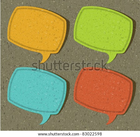 Vintage frame as speech bubbles set from old textured paper vector eps 10