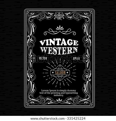 Vintage frame border western label hand drawn retro engraving antique vector illustration