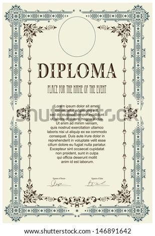 Vintage frame certificate or diploma template