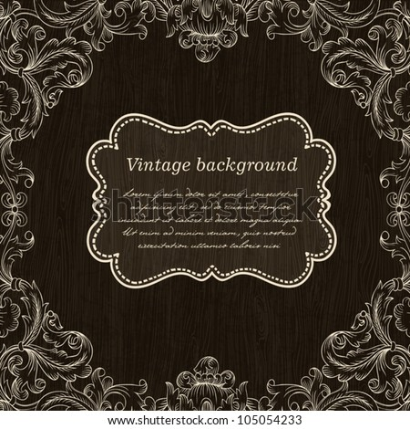 Vintage Frame Design On Wooden Background For Greeting Card. Vector, Eps10. - stock vector