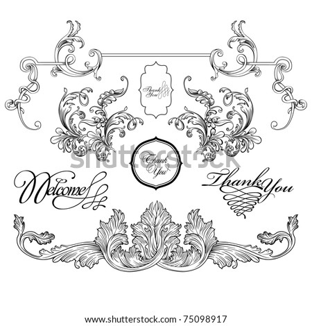 vintage frame designs set , vector