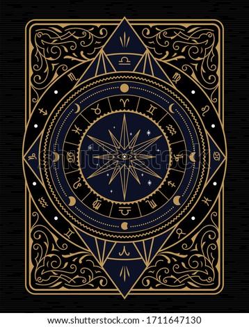 vintage frame divine magic hand drawn antique vector illustration
