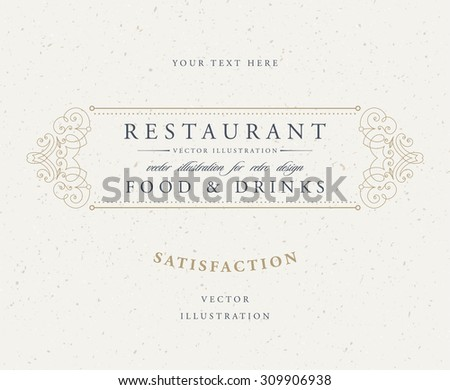 Vintage Frame for Luxury Logos, Restaurant, Hotel, Boutique or Business Identity. Royalty, Heraldic Design with Flourishes Elegant Design Elements. Vector Illustration Template. ストックフォト ©