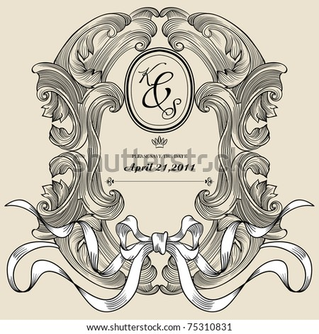 Vintage frame for wedding deco and invitation card - stock vector
