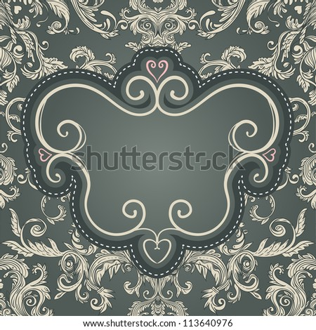 Vintage frame for your text on seamless  brown baroque patterned  background