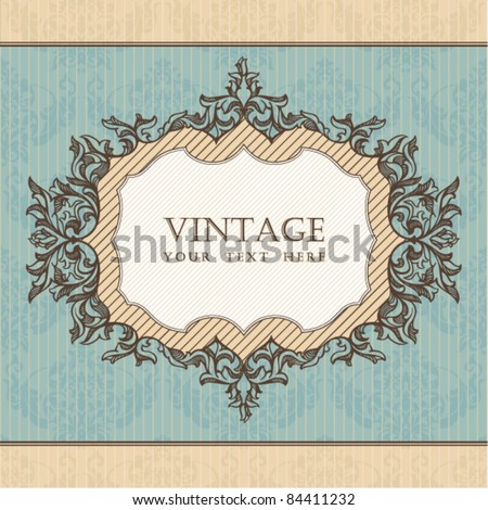Vintage frame. Great for greeting and invitation card. - stock vector