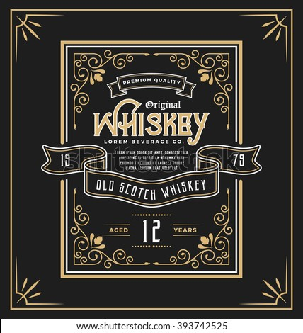 vintage frame label for whiskey