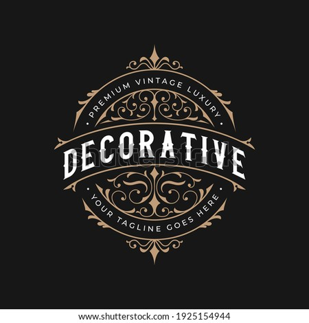 Vintage frame logo. Antique label. Suitable for tattoo studio, barber shop, whiskey label, wine, beer, brewing, salon, shop, signage.