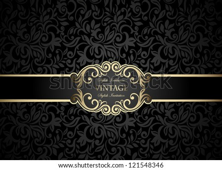 Vintage frame on abstract floral black background, seamless