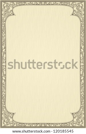 Vintage frame on beige textured background