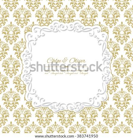 Vintage frame on damask. #383741950