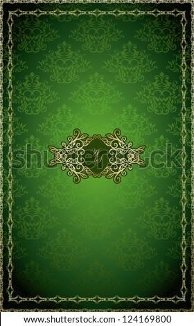 vintage frame on damask...