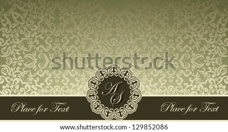 Vintage frame on damask wallpaper Can be used as business visiting invitation card cover etc