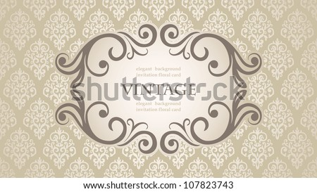 Vintage frame on Floral Damask wallpaper