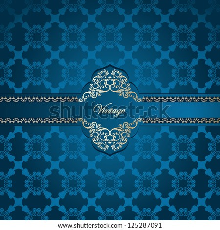 Vintage frame on seamless abstract damask wallpaper