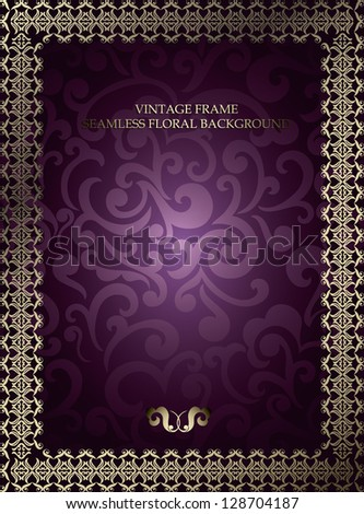 Vintage frame on seamless swirls floral background