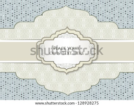 Vintage frame. Polka dot seamless texture. Greeting Card.