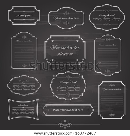vintage frame set on chalkboard ...
