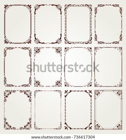 vintage frame set on pattern retro background, decorative border, luxury greeting cards, vector illustration