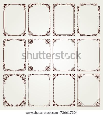 vintage frame set on pattern retro background, decorative border, luxury greeting cards, vector illustration