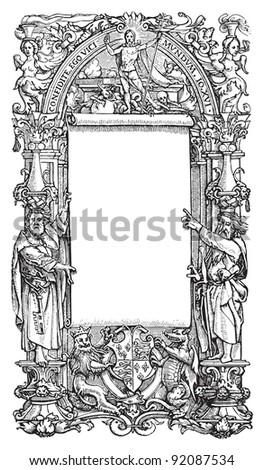 Vintage frame / vintage illustrations from Meyers Konversations-Lexikon 1897