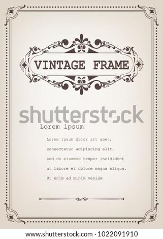 vintage frame with beautiful filigree, decorative border, luxury greeting cards,vector illustration