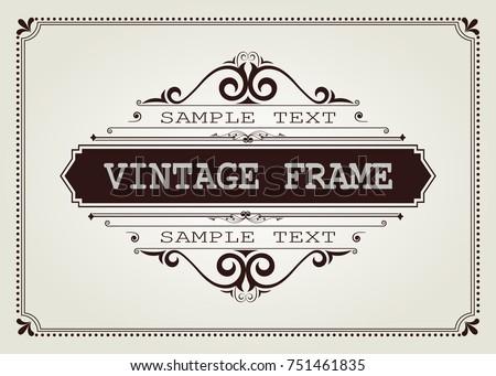 vintage frame with beautiful filigree, decorative border, vector illustration