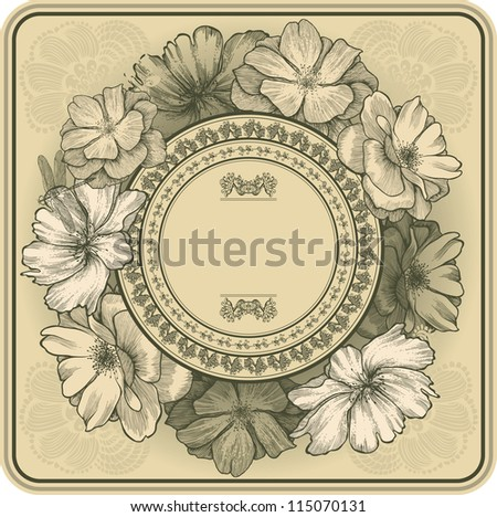 Vintage frame with blooming roses and dragonfly, hand drawing. Vector illustration.