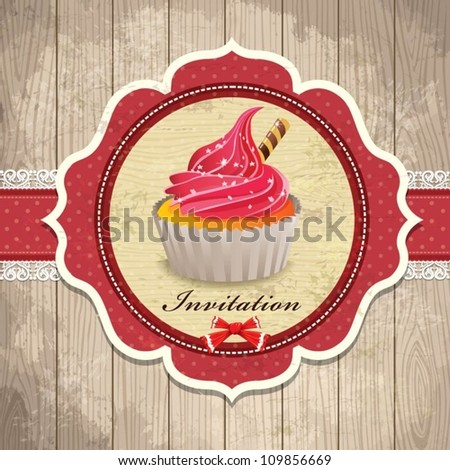 Vintage frame with cupcake template