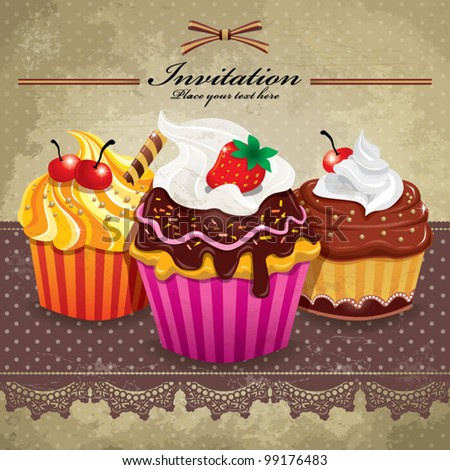 Vintage frame with cupcakes (32) - stock vector