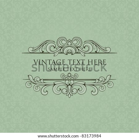 Vintage frame with damask seamless background