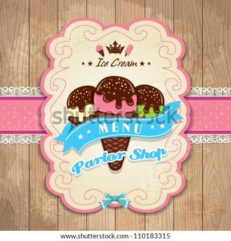 Vintage Frame With Icecream Template Menu Set Stock Vector ...