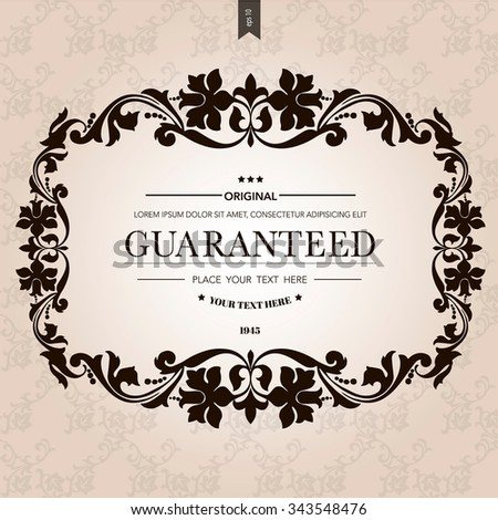 Vintage frame with place for your text.Elegant element for design template.Romantic background.Vector illustration