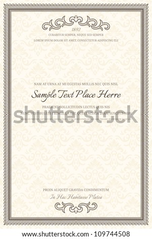 Vintage frame with retro seamless pattern