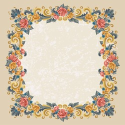 Vintage frame with rose and other flowers. Vector, easy for edit.
