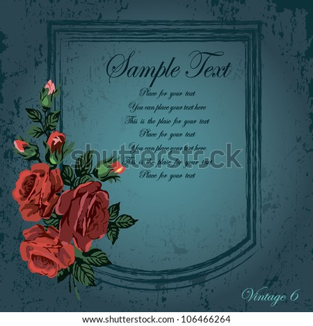 vintage frame with roses at the shabby dark background