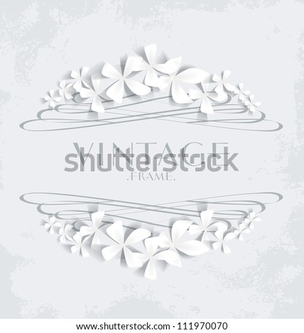 Vintage frame with white flowers for greeting cards