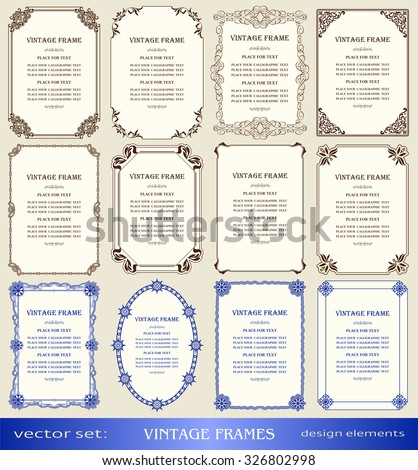 Vintage frames and borders set, book covers and pages, christmas and new year  decorations, calligraphic, ornamental photo, text frames, creative design element, decor for certificate, award, diploma #326802998