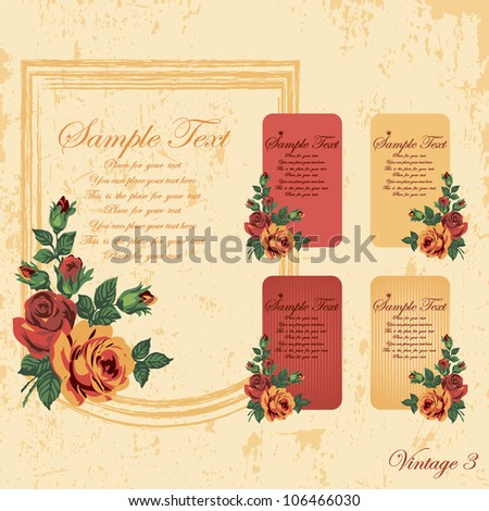 vintage frames and cards of yellow and red with roses
