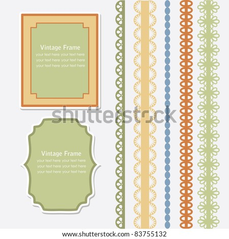 vintage frames and cute lace. vector illustration - stock vector