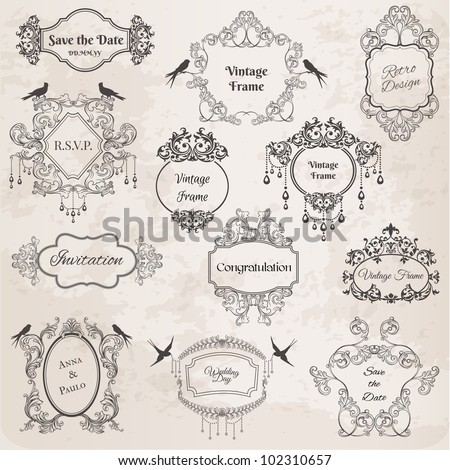 Vintage Frames and Design Elements- for wedding invitation birthday greetings scrapbook in vector