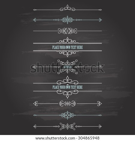 Vintage frames and dividers set on chalkboard background. Calligraphic design elements.
