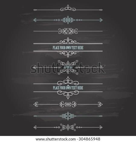 Vintage frames and dividers set on chalkboard background. Calligraphic design elements.