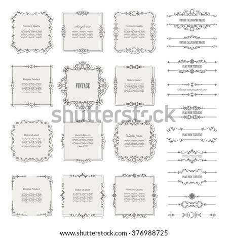 Vintage frames, borders, and dividers big set. Calligraphic design elements. #376988725