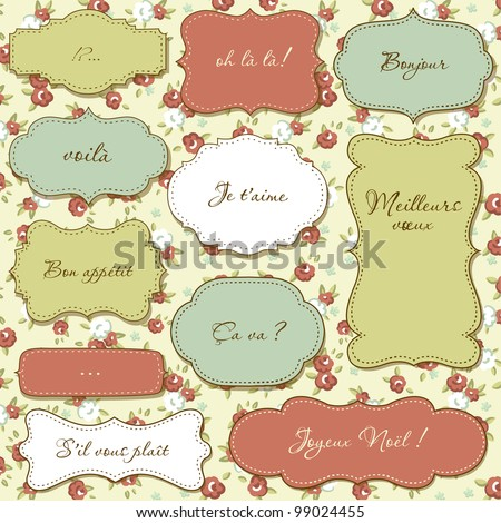Vintage frames, seamless floral pattern as a background